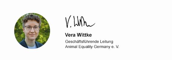 Vera Wittke - Geschäftsführende Leitung von Animal Equality Germany e. V.